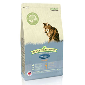 Cheap James Wellbeloved Adult Cat Hairball Turkey 300g